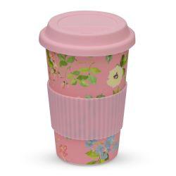 taza café para llevar en bambú con diseño de flores