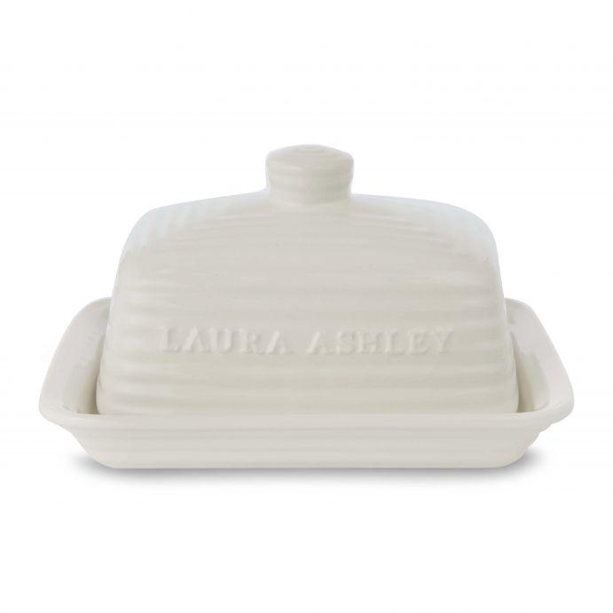 plato con tapa para mantequilla cerámico crema de diseño
