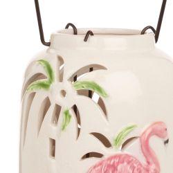 farol portavelas cerámico con flamencos ideal para decorar mesas y jardines con diseño tropical
