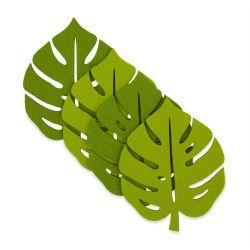 posavasos de fieltro hoja diseño Palm Leaf verde
