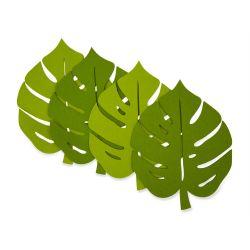 4 salvamanteles de fieltro hoja diseño Palm Leaf verde