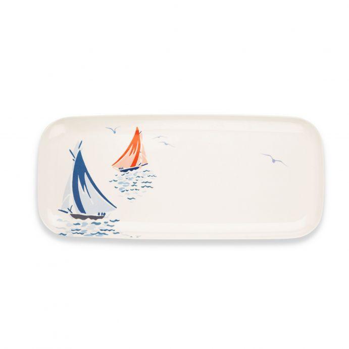 bandeja rectangular de melamina con diseño de barcos de vela
