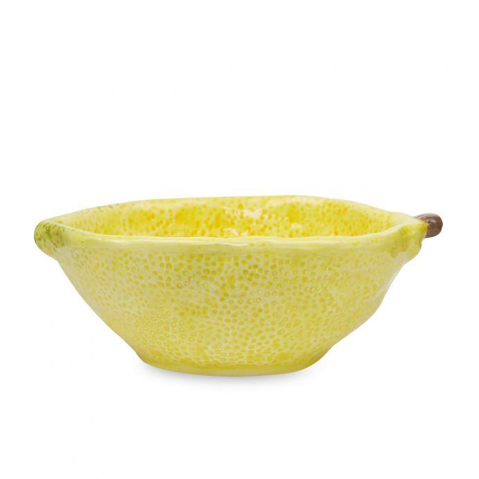 cuenco con diseño de limón amarillo