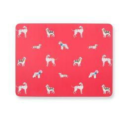 4 salvamanteles de corcho rojo con diseño de perros