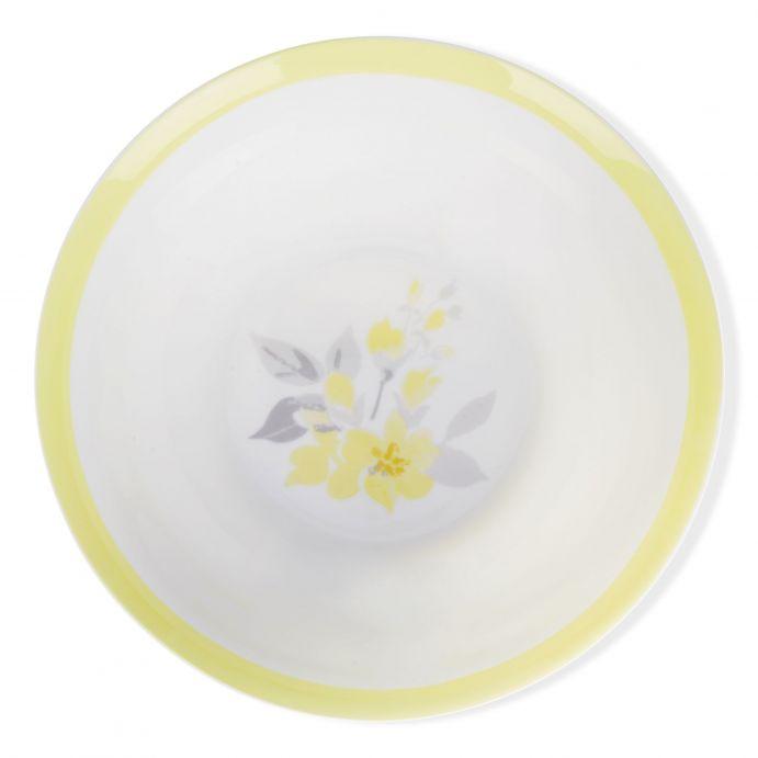 cuenco cerámico con flores de diseño color amarillo