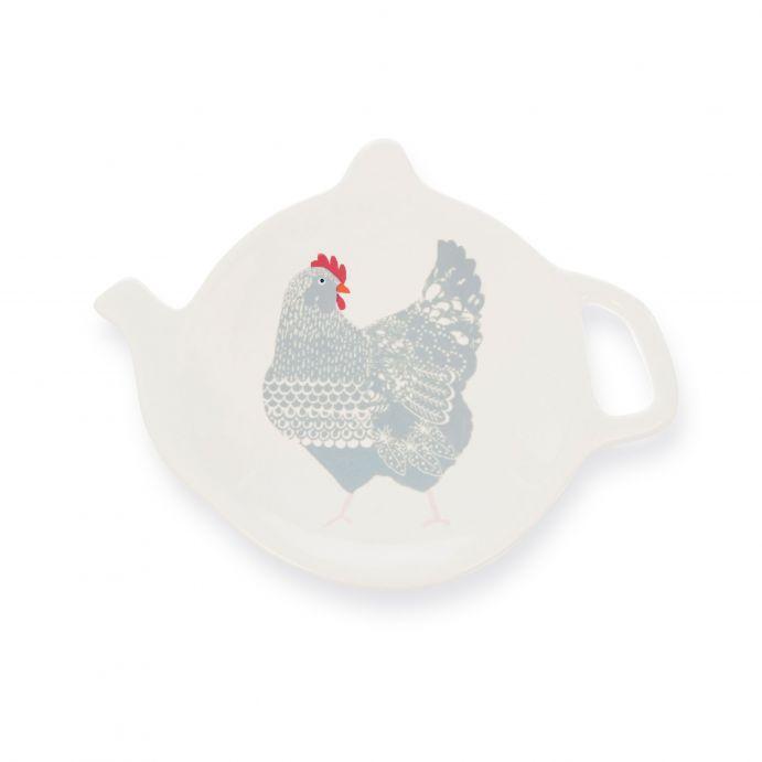 platito con forma de tetera y estampado de gallina de diseño