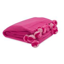 manta de algodón rosa fucsia con diseño de pompones