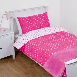 conjunto funda nórdica para cama infantil en rosa con lunares blancos, reversible