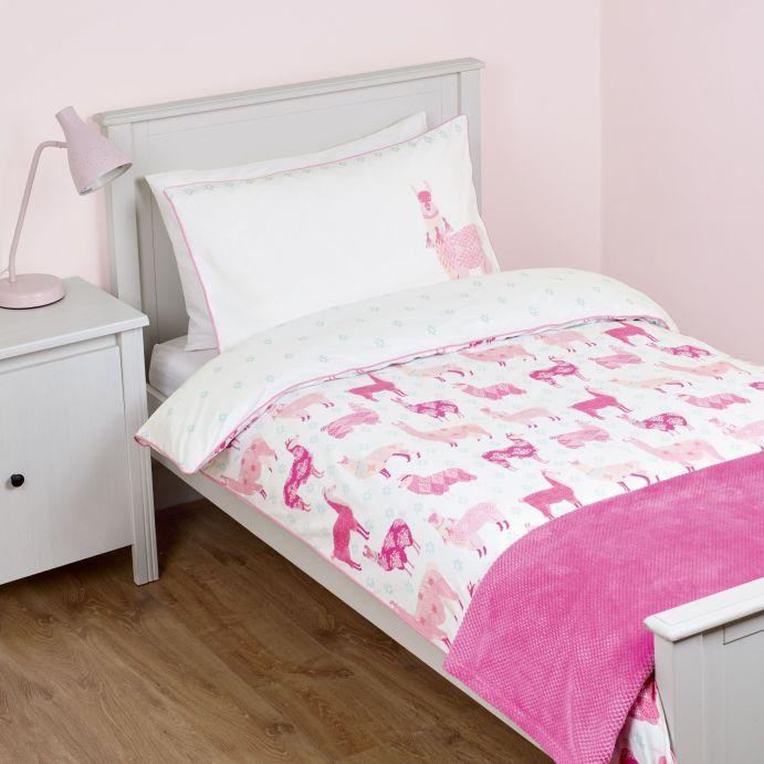 conjunto funda nórdica para cama infantil blanca con llamas rosas, reversible