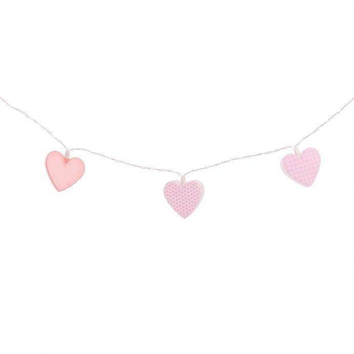 guirnalda de corazones rosas con luz de diseño