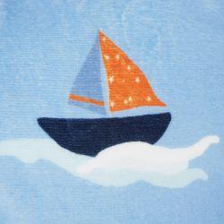 manta azul infantil súper suave con barcos de vela azul y rojo