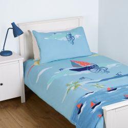 conjunto de funda nórdica para cama infantil azul con estampado de barcos de vela de diseño