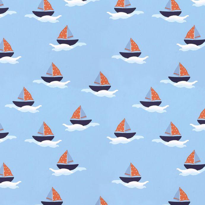 papel pintado infantil azul con barcos de vela de diseño