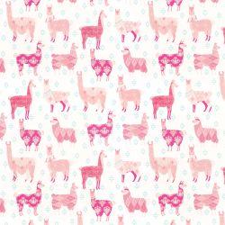 papel pintado infantil rosa  con llamas  de diseño