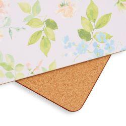 salvamanteles de corcho con flores color pastel de diseño