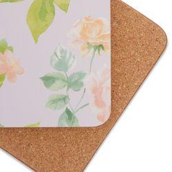 posavasos de corcho con flores color pastel de diseño