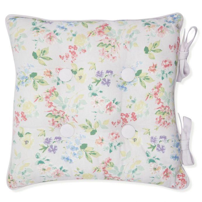 cojín para silla estampado con flores de colores pastel de diseño