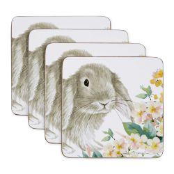 posavasos de corcho cuadrados con conejito estampado de diseño