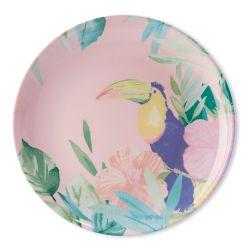 platos de melamina y estampado con flamencos y pájaros tropicales
