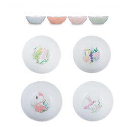 cuencos de melamina colores estampados con flamencos y pájaros tropicales
