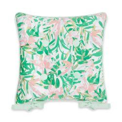cojín para silla con estampados tropicales en verde y rosa de diseño