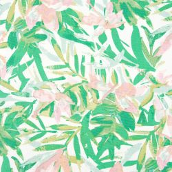 camino de mesa con estampados tropicales en verde y rosa de diseño