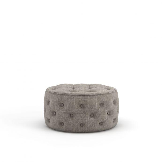 reposapiés puf de diseño abotonado en color gris