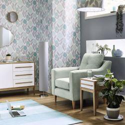 alfombra de diseño de rayas en color azul y gris