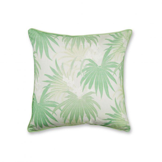 cojín con hojas de palmera en verde de diseño
