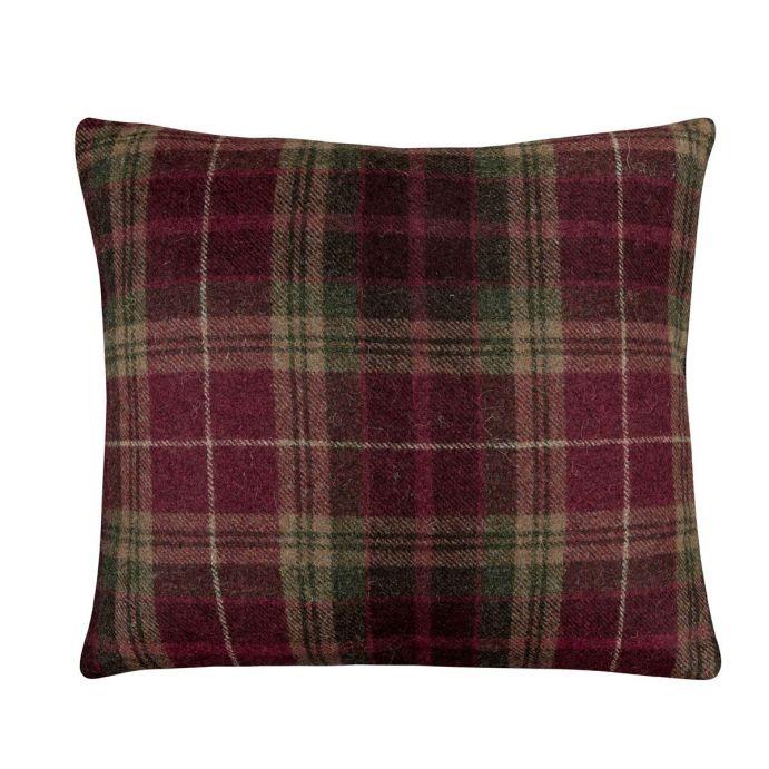 cojín de cuadros de lana de diseño clásico en color rojo arándano