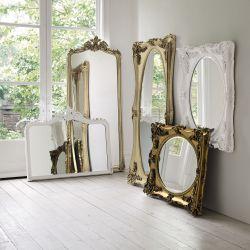 espejo horizontal blanco con molduras de diseño