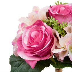 ramo de flores artificiales de rosas y hortensias en color rosa fucsia