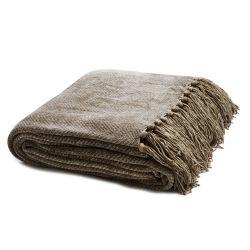 manta marrón trufa de diseño de espiga con flecos