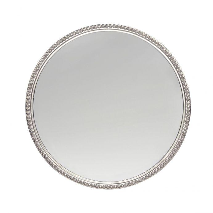 espejo de pared redondo grande con marco plata de diseño