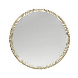 espejo de pared redondo grande con marco champán de diseño