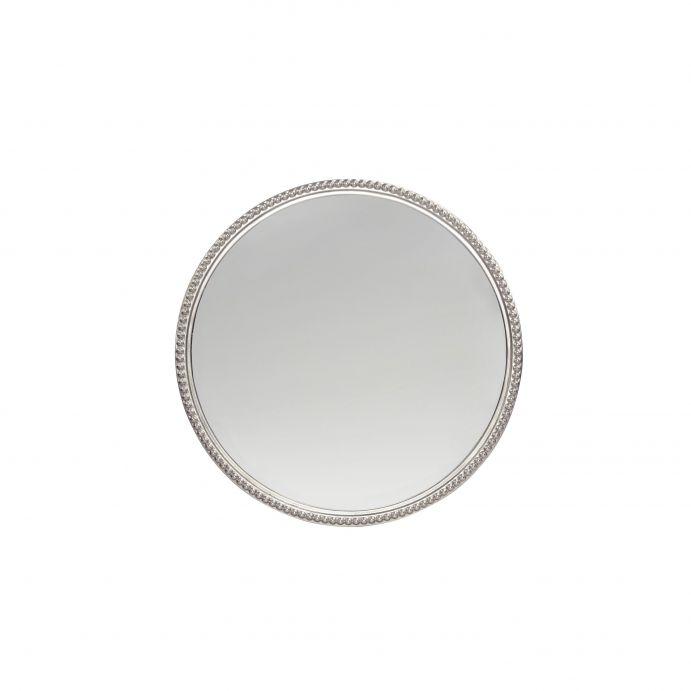 espejo de pared redondo pequeño con marco plata de diseño