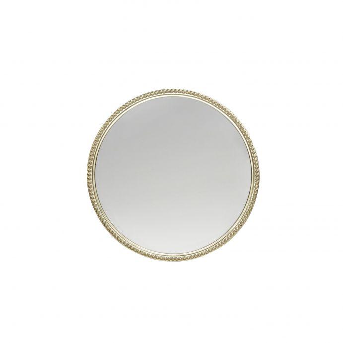 espejo de pared redondo pequeño con marco champán de diseño