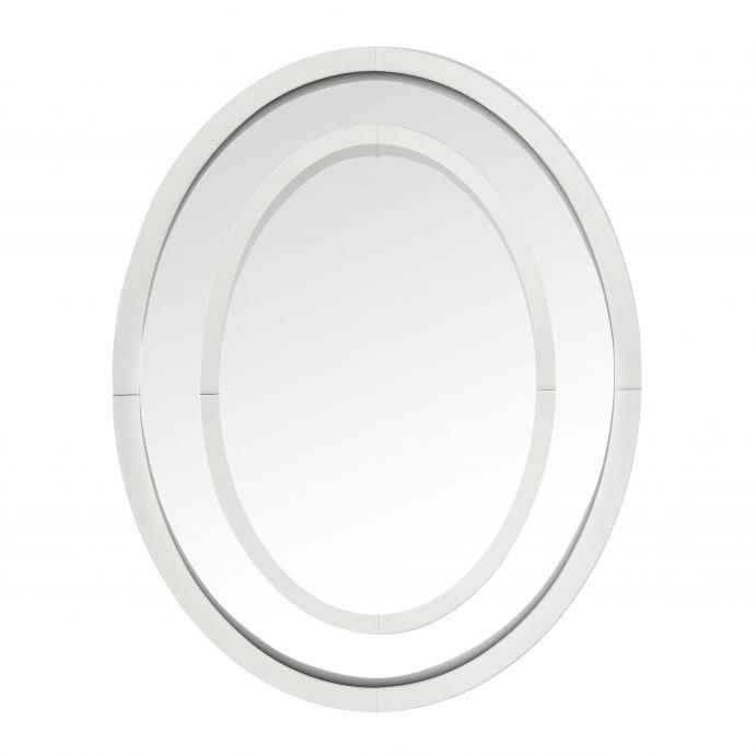 espejo ovalado de pared, con diseño de marco espejado