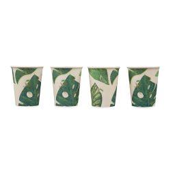 conjunto de 4 vasos de bambú estampados, no se rompen, de diseño, color verde
