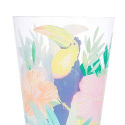 vaso de melamina estampado con tucán en colores divertidos, no se rompe ideal para picnic