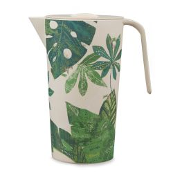 jarra de melamina en bambú estampado de diseño hojas