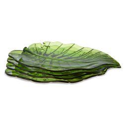 fuente con forma de hoja verde en material acrílico de diseño