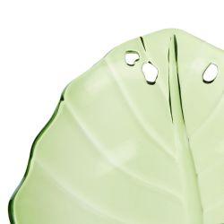 cuenco de melamina verde con diseño de hoja ideal picnic