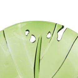 fuente de melamina verde con diseño de hoja ideal para ensaladas