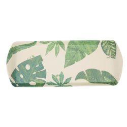 bandeja de bambú rectangular con diseño de hojas verdes