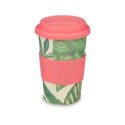 taza para llevar de melamina con diseño de hojas verdes
