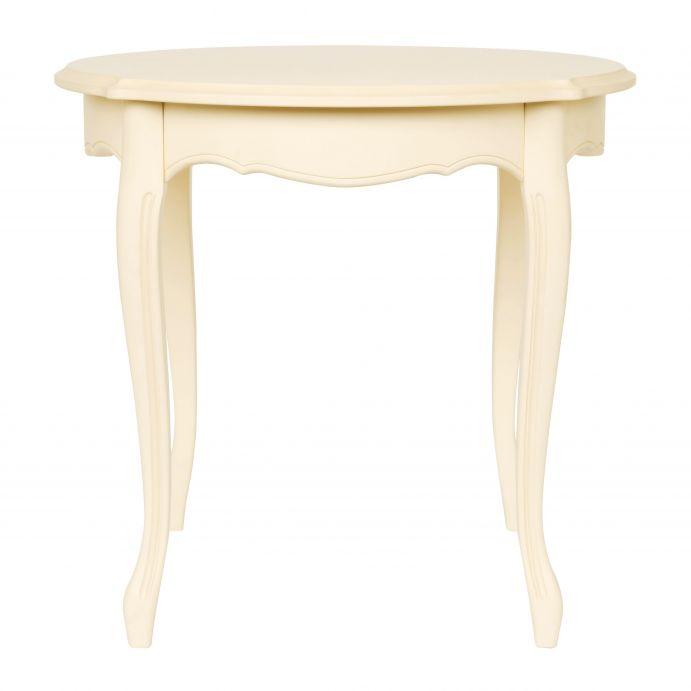 mesa de diseño estilo bistro redonda en color marfil