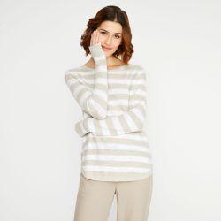 jersey de lino rayas natural