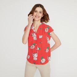 blusa Hibisco coral