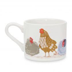 taza de desayuno en cerámica estampada con gallinas, de diseño
